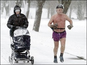 Extreme winter exercising. Hard-core.