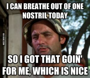 I can breathe out of one nostril today